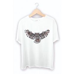 Baykuş Baskılı Beyaz Tişört