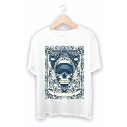Kişiye özel tişört baskı - Kuru kafa beyaz tişört