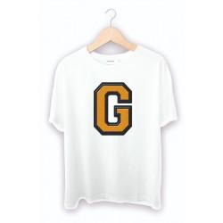 Beyaz G Harf baskılı Tişört