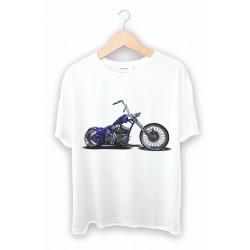 Kişiye özel motorsiklet baskılı beyaz tişört