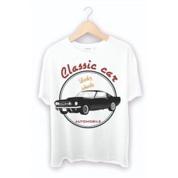 Kendin tasarla Beyaz Tişört - Araba Baskılı Tişört