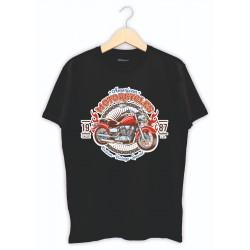 Kişiye özel tasarım tişört - motorsiklet baskılı siyah tişört