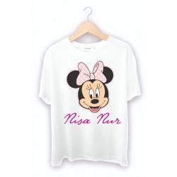 Kız Çocuklarına özel Minie Mouse Baskılı Beyaz Tişört
