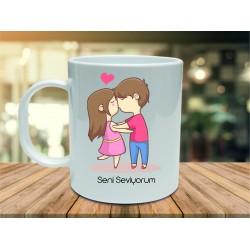 Sevgiliye Seni Seviyorum Kupa Bardak Hediye