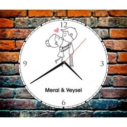 Sevgiliye Özel Ahşap Kişiye özel Duvar Saatleri