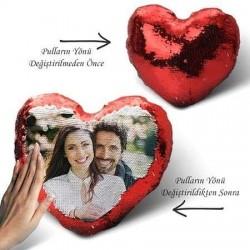 Sevgiliye Kırmızı Kalpli Sihirli Yastık